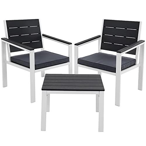 SONGMICS Gartenmöbel, 3er Set, 2 Gartenstühle, 1 Gartentisch, 2 abnehmbare Kissen, für Terrasse, Garten, Balkon, Eisen, rauchgrau-weiß GGF03GW