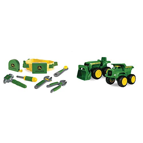TOMY John Deere Deluxe Talking Toolbelt Preschool Toy & John Deere Sandbox Vehicle (2 Pack)