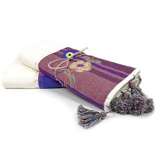 BULDAN Textiles Handtuch Gästetuch Frottee 2er Set 50x90 cm, handgestickt mit Bordüre in Weiss Lila aus 100% Baumwolle