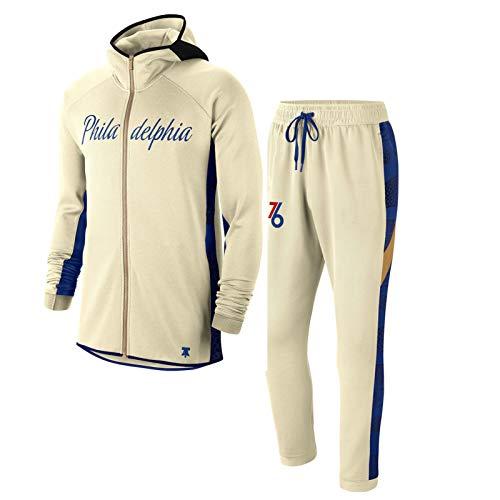 PSZH Herren Philadelphia 76er Hoodies Set - Creme/Blue Verdiente Edition Showtime Full-Zip Performance Hoodie 100% Polyester Sweatshirt und Jogginghose L