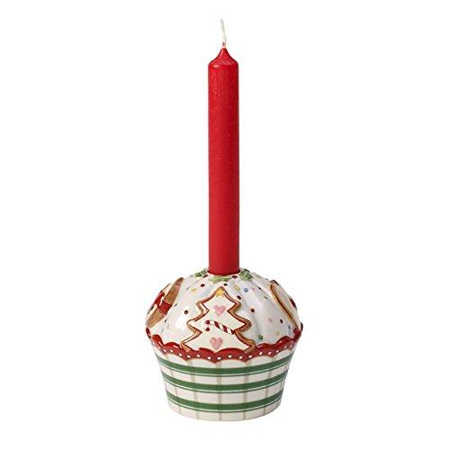 Villeroy & Boch 14-8613-3969 Winter Bakery Decoration Candeliere Piccolo Cupcake, 6 cm, Verde a Strisce