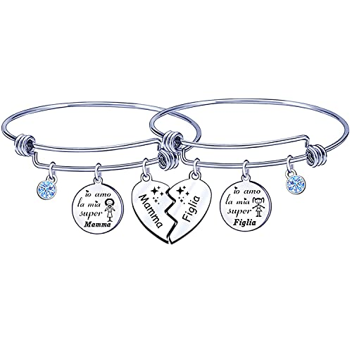 GUOSHENG 2 pulseras de mujer con grabado 'yo amo la mi super mamá' para madre hija regalos de cumpleaños, regalos de Navidad, regalos de graduación