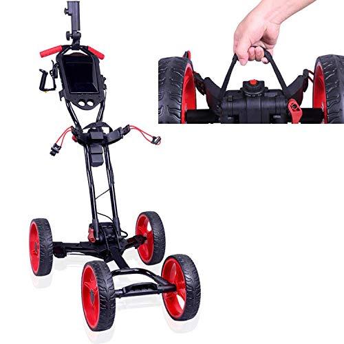 DHYBDZ Trolley de Golf eléctrico, 4 Ruedas Trolley de Golf Plegable Función de despliegue de un botón Carros de Golf eléctricos con Soporte para Tarjeta de puntuación y paragüero. (10KG)