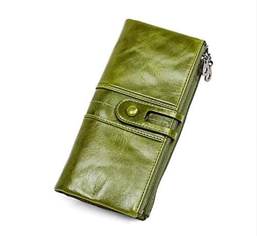 Asge RFID - Cartera de piel sintética para mujer, elegante, para mujer, monedero con varias ranuras para tarjetas, pulsera Verde b talla única