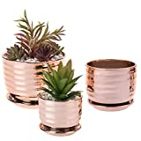 MyGift Contemporary Copper-Toned Ceramic Tabletop Planter Pots with Saucer, Set of 3