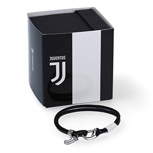 Juventus Bracciale in Pelle Nera e Logo - 100% Originale - 100% Prodotto Ufficiale - Taglia Unica