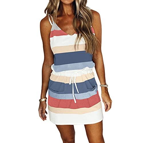 Dihope - Vestido mini para mujer, diseño de rayas, color contraste, con cordón de ajuste, cintura, elástico, sin mangas, cuello en V, pijama con bolsillo de verano, Azul oscuro., XXL