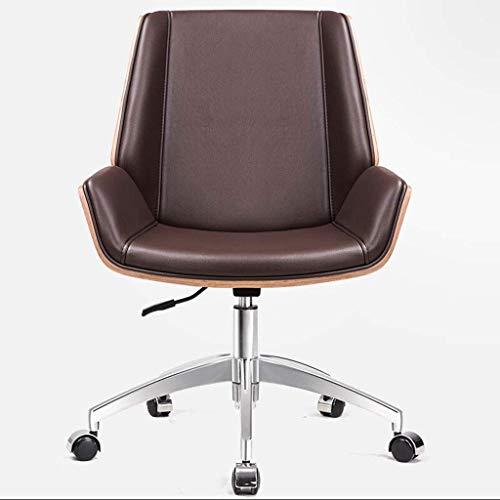 Silla de escritorio de oficina, silla de ordenador, silla de cuero para el hogar, respaldo nórdico, silla giratoria, silla de conferencia, silla de jefe, polea, pie de acero (color: marrón)