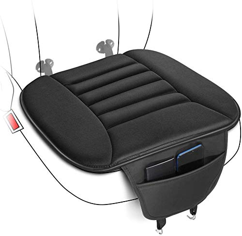 Tsumbay Auto Sitzkissen Sitzauflagen Autositzkissen Auto Sitzbezüge, mit Aufbewahrungstasche für Handy/Bankkarte/Führerschein, Vordersitze Memory Schaum Pad Kissen für Autositz Bürostuhl