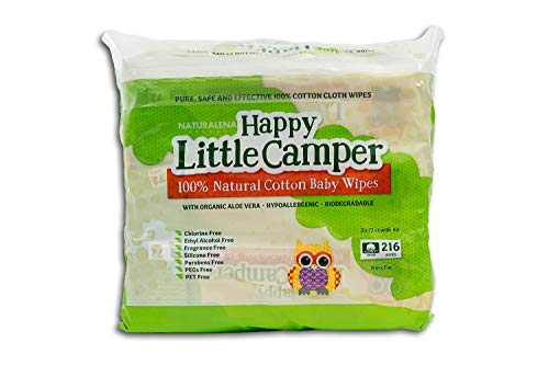 Happy Little Camper Natural Cotton Baby Wipes with Aloe Vera and Vitamin E, Unscented, 216 Count