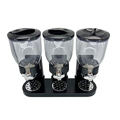 Milageto Dispenser triplo di cereali Contenitore per alimenti secchi Macchina/conservazione per alimenti da 16,23 once (dispenser triplo) - Nero