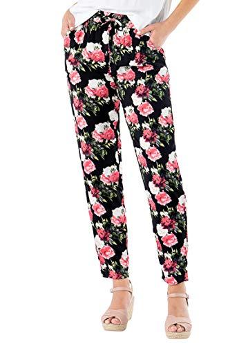 Sublevel Damen Stoff-Hose mit Gummibund Gemustert und luftig Black XL