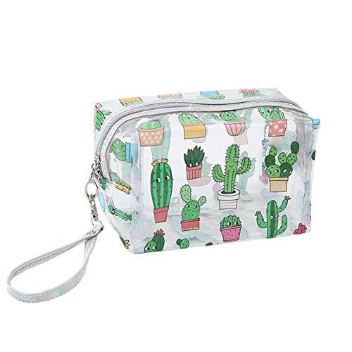 JooNeng - Neceser transparente con correa de mano, bolsa organizadora de artículos, cremallera y dibujos monos, sirve para llevar cosméticos, maquillaje y artículos de aseo o como estuche Cactus