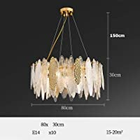 Honana 埋め込みインストール アールデコLEDポストモーデンガラス鉄LEDライトシャンデリア照明光沢のある吊り下げ照明器具灯台のためのダイニングルーム (Lampshade Color : Silver)