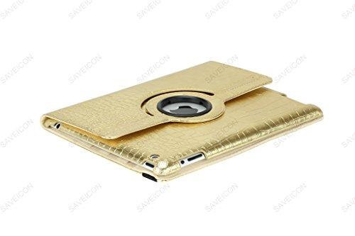 SAVEICON (TM) 360 Degrees Rotating Crocodile Skin PU Leather Case Smart Cover with Stand and Sleep/Wake Function for Apple iPad 4 with Retina Display, iPad 3, iPad 2 (Gold) Photo #5