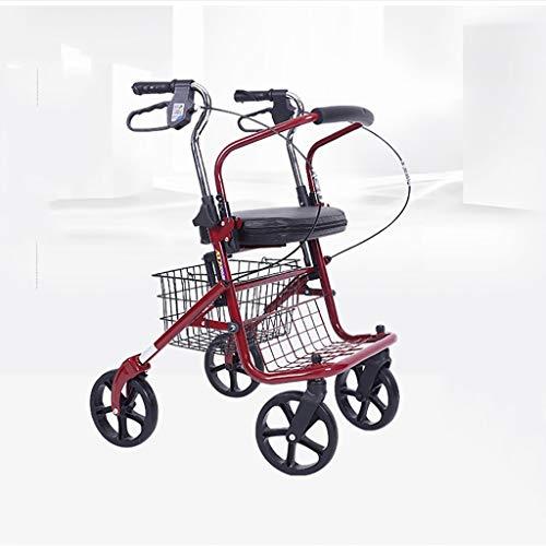 Carro de la compra plegable con asiento y freno de mano de seguridad para personas mayores, impulsor de cuatro ruedas Drive Medical con pasamanos de altura ajustable e instalación de respaldo de dos v