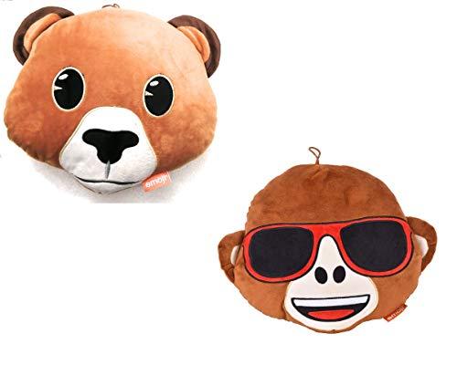 udc Innova-– Juego de 2 cojines de emoticonos, diseño de mono y oso (30 x 30 x 6 cm)
