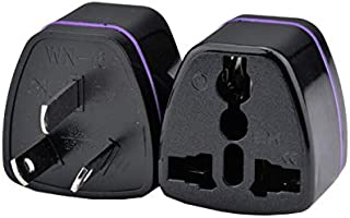 (2pcs) CE Universal Travel Power Plug Adapter AU Australian to USA EU Euro UK Slim 3Pin –Black