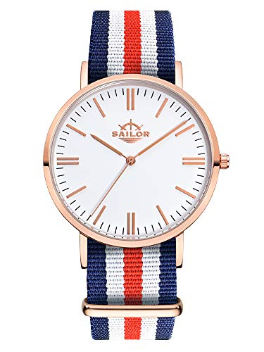 Sailor Damen Herren Uhr Classic Analog Quarz mit Nylon Armband Marine blau-weiß-rot, SL101-2014-36