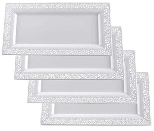 Yumchikel -Fancy White Plastic Serving Tray & Platter Set (4pk) - White Lace Rim Disposable Serving Trays & Platters for Food - Weddings, Upscale Parties, Dessert Table, Cupcake display-7.5x14 inches