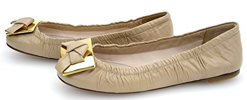 Prada Woman Ballerina Flat Shoes Leather Code 1F297C 36 Sabbia - Sand