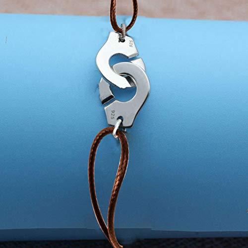 Pulseras Francia de plata de ley 925 esposas pulsera para mujeres hombres cuerda pulsera de plata 925 pulsera BrownRope