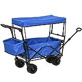 DURHAND Carro Transporte Plegable de Playa Jardín Champing Viaje con Toldo y...