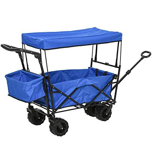 DURHAND Carro Transporte Plegable de Playa Jardín Champing Viaje con Toldo y Manillar Cuatro Ruedas Regulable en Altura de 110x56x101cm Color Azul Carga MAX 100kg