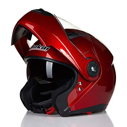GHMH-helmet Casque de Moto de Plein air sécurité Pleine Couverture Quatre Saisons Casque Unisexe (Couleur : Red, Taille : L)
