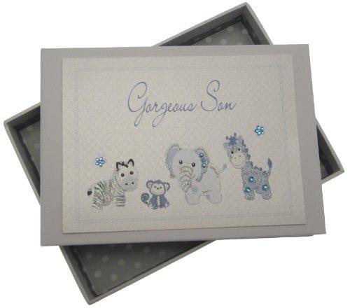 White Cotton Cards Mini-album photo fait à la main Motif inscription Gorgeous Son, animaux et tissu vichy Bleu