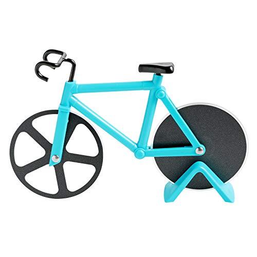 Fahrrad Pizzaschneider, Antihaftbeschichteter Edelstahl Pizzaroller mit Ständer (Himmelblau, 19cm * 12cm * 4 cm)