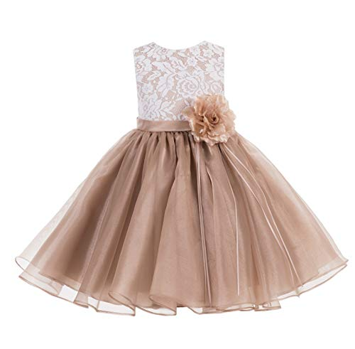 ekidsbridal Lace Organza Junior Flower Girl Dress Special Occasion Christening Dress 186F 2 Rose Gold
