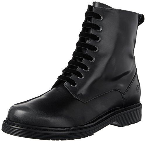 Liebeskind Berlin Damen LW175260-nappa Combat Boots, Oil Black with anthrazit Brush, 36 EU