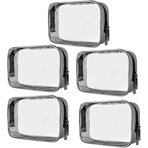 Sac à cosmétiques Transparent SUNSHINETEK Sac de Rangement pour Organisateur de Toilette en PVC étanche, 5 pièces, avec Pochette à glissière (Paquet de 5, Transparent)