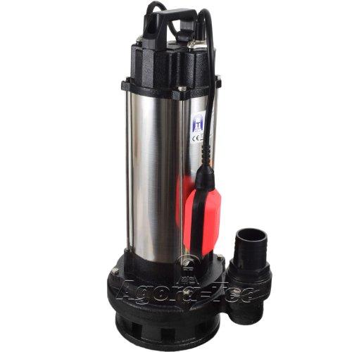 Agora-Tec® Baupumpe AT-1500W Tauchpumpe für Schmutzwasser, Abwasser, für Fäkalien und organische Feststoffe mit Schwimmerschalter und max: 2,6 bar und max: 19000l/h