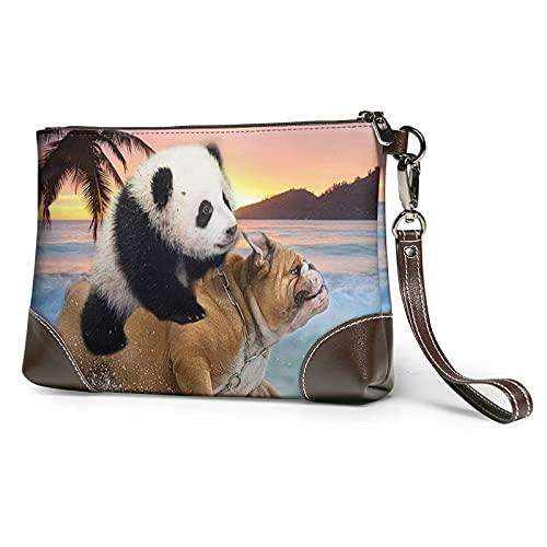 XCNGG Cool Panda Ride Mops Hund Bedruckte Clutch Geldbörse Abnehmbare Leder Wristlet Wallet Bag Damen Handtasche