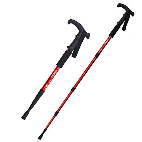 Trekking polos - al aire libre retráctil ajustable de aleación de aluminio ligero de pie Sticks - bastones de senderismo Perfecto para senderismo, viajes, caminatas, escalada, mochileros y raquetas de nieve (Rojo)