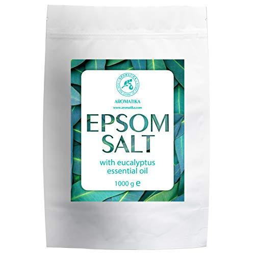 Sel de Bain Epsom Eucalyptus 1kg avec l'Huile Essentielle d'Eucalyptus - Sels d'Epsom Purs à 100% - Cristaux de Sulfate de Magnésium et Eucalyptus pour Apaiser les Muscles Endoloris - Soin de la Peau