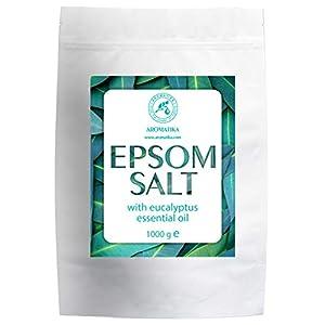 Sal Epsom Baño con Aceite Esencial Eucalipto 1kg - Cristales de Sulfato de Magnesio para Aliviar el Dolor Muscular - Sales de Baño Relajantes - Cuidado de Piel - Muscular - Buen Sueño - Sal Inglesa