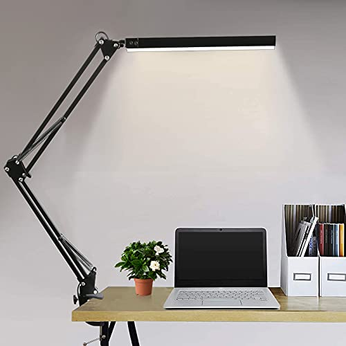 Lampada da Tavolo LED 10W Lampada da Scrivania con Morsetto,3 modalità di colore+10 livelli di luminosità regolabili,Lampada Pieghevole USB per architetti lavoro di lettura in ufficio a casa (nero)