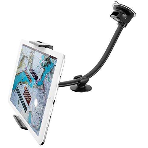 APPS2Car Car Tablet Suction Windshield Mount w/Super Flexible Long Arm 13 inches Goose-neck Compatible with 7-11 inch iPad & Android Tablet, Smartphones Long Reach Car Tablet Holder Dashboard
