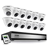 ZOSI H.265+ 1080p 16 Channel Home Security Camera System,16 Channel DVR with Hard Drive 4TB and 12 x 1080p(2MP) CCTV Dome Camera Outdoor/Indoor with 80ft Long Night Vision and 105°Wide Angle