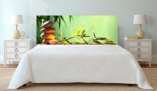Cabecero Cama PVC Impresión Digital Zen Piedras Vela y Rama 115 x 60 cm | Disponible en Varias Medidas | Cabecero Ligero, Elegante, Resistente y Económico