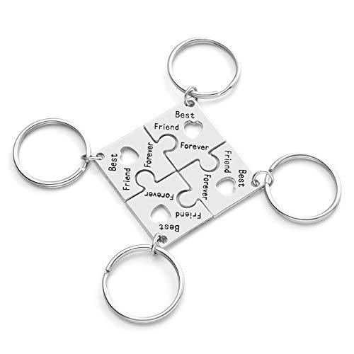 JSDDE 4 llaveros de aleación con diseño de puzle de la amistad, llavero para amigos, Silver (Plateado)   GGUK02949