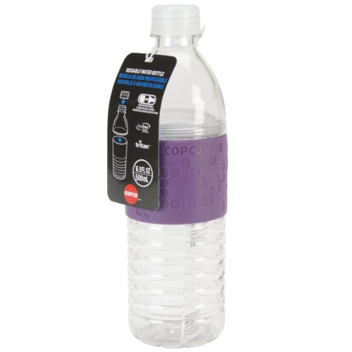 Copco Hydra Reusable Tritan Water Bottle with Spill Resistant Lid and Non-Slip Sleeve, 16.9-Ounce, Purple
