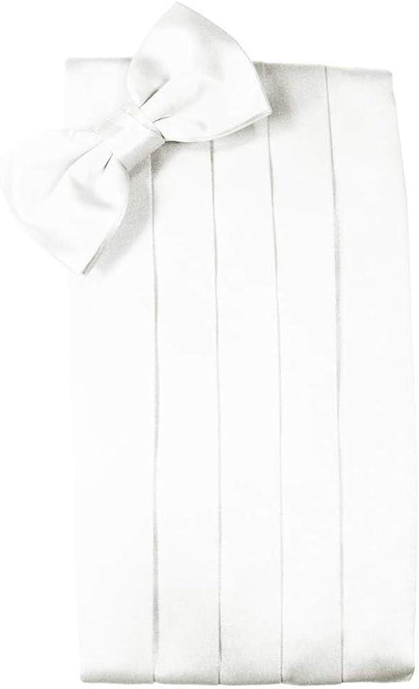 Men's 100% Noble Silk Cummerbund & Bow Tie Set - Many Colors (White)