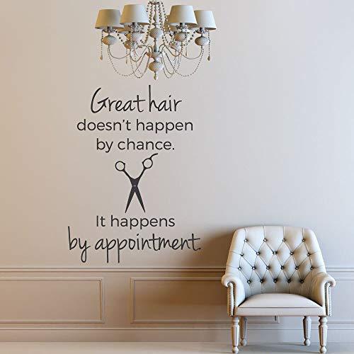 Pegatinas de pared de estilo nórdico peluquería decoración vinilo pared salón de belleza tijeras arte | Calcomanías de decoración del hogar de bricolaje