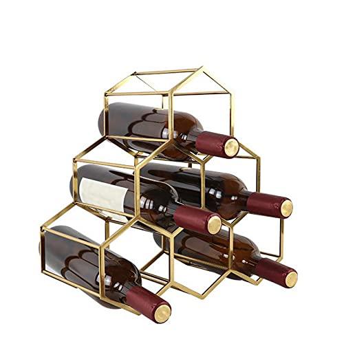 Moderno Simple Dorado Estante de Vino Estable De AleacióN De Metal Titular de Vino Elegante del Ornamento De Seis Agujeros Botellero Vino para El Hogar Almacenados Seis Botellas De Vino