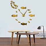 Relojes de pareddelicadosrelojes depared pescado y espuma DIY reloj de pared gigante efecto espejo artista de pared decoración del hogar decoración del acuario reloj de aguja grande sin marco 37