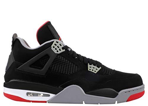 Nike Sneakers Uomo Air Jordan 4 Retro 308497.060 (44-060 Black-Fire Red-Cement Grey)